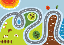 Country road. Vector cartoon illustration of a rural landscape with a road Stock Photo