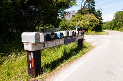 Country Road. Rural mail boxes on a country road Royalty Free Stock Images