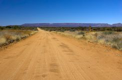 Country road. In Africa (Namibia) leading to the horizon Royalty Free Stock Photo