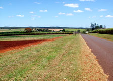 Country Road. A country road to a small town Stock Image