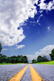 Country-road. With trees and bushes under a dramatically lighted sky Royalty Free Stock Photography