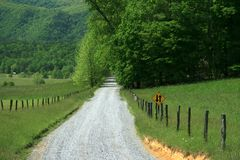 Country Road. Road through Cades Cove in the Smokies royalty free stock photos