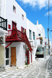 Country Road. With white building in Mykonos, Greece Royalty Free Stock Photos