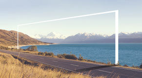 Country Road Amazing Scenery Lake Mountain Range Concept Royalty Free Stock Images