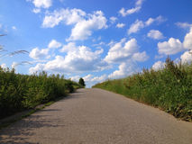 Country road. And blue sky in summer Stock Photo