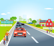 Country road with cars and bicycles. Illustration of a country road through a village showing houses, cars, bicycles and pedestrians, pale blue almost cloudless Royalty Free Stock Photography