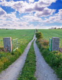 Country road and clouds Stock Photography