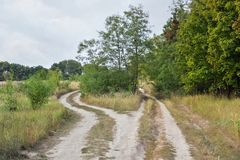 Country road. Beside a village in Ukraine Royalty Free Stock Photos