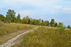 Country road. Beside a village in Ukraine Royalty Free Stock Image