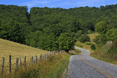 Country Road. A curve in a country mountain road in the summer stock photography