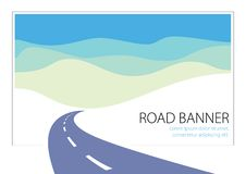 Country road curved highway vector perfect design illustration. The way to nature, hills and fields camping and travel theme. Can. Be used as a road banner or vector illustration