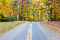 Country Road Cutting Through St Michaels in Baltimore, Maryland. In Fall royalty free stock photography