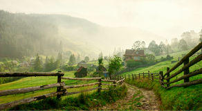 Country Road  at dawn,  Vorokhta,   Carpathian Mountains, Ukraine. Toned image Royalty Free Stock Photography