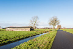Country road in a Dutch polder landscape Stock Photography