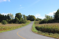 Country Road in the Eastern Townships in Quebec. Winding Country Road in the Eastern Townships in Quebec stock photo