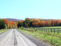 Country Road in Fall. In Eastern Townships, Quebec royalty free stock photo