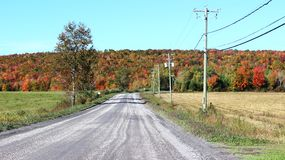 Country Road in Fall. In Eastern Townships, Quebec stock photos