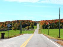 Country Road in Fall. In Eastern Townships, Quebec stock image