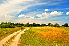 Country road in field. With funny skies royalty free stock images