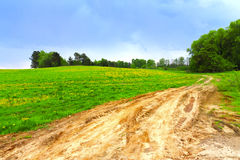 Country road through a field hdr Royalty Free Stock Photography