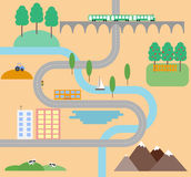 Country road in flat design style. Vector illustration Royalty Free Stock Photos