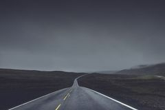 Country road in fog Royalty Free Stock Image