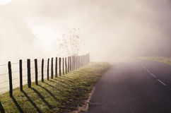 Country road in the fog Royalty Free Stock Photography