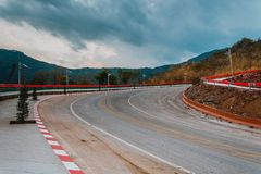 Country road through the forest to the top of high mountain, Famous highway in Loei Thailand, Curve hundreds body of the dead royalty free stock photography
