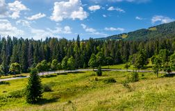 Country road through forested hillside. Beautiful nature scenery in morning Stock Images