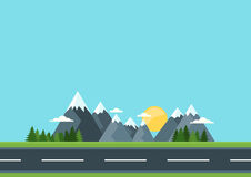 Country road in green field and mountains. Rural street flat style illustration. Summer or spring landscape. Vector flat background with space for text Stock Photography