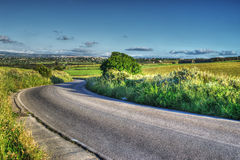 Country road in a green hill Stock Images