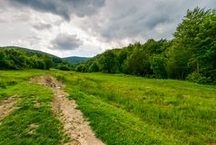 Country road hides in the woods. Lovely countryside scenery in mountains Royalty Free Stock Image