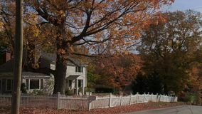 Country road with house in Autumn (1 of 3). A view or scene from around town stock footage