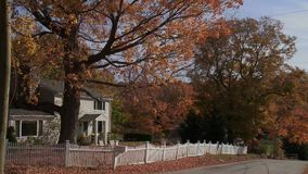 Country road with house in Autumn (2 of 3). A view or scene from around town stock video footage