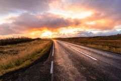 Country Road in Iceland at Sunset royalty free stock photo