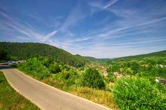 Country Road Landscape. Countryside Landscape in Valiug, Romania Stock Photo