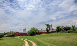 Country road leading to the red barn. In Middleburg Virginia Stock Images