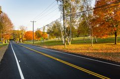 Country Road Lit by a Warm Autumnal Setting Sun stock image