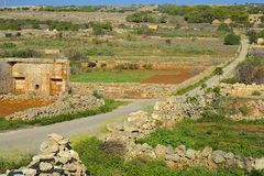 Country road in Malta. Fields and agriculture in Malta Stock Photo