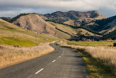 Country road meandering across grassy hills Royalty Free Stock Photo