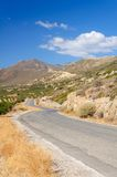 Country road in the mountains of Crete, Greece Royalty Free Stock Photography