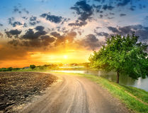 Country road near the lake Royalty Free Stock Images