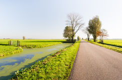 Country road next to a ditch Royalty Free Stock Images