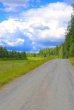 Country road next to meadow Royalty Free Stock Photography