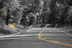 Country road. A old country road with a yellow filter Royalty Free Stock Photo