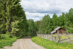 Country road in Ollila farm Royalty Free Stock Images