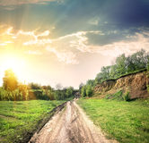 Country road and open land Stock Image