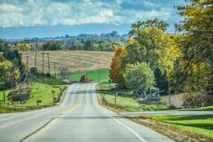 Country Road Overlooking Farmland