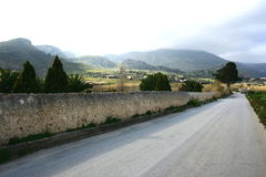 Country Road. Panorama. Open air . Clouds & blue-Sky Sicily Stock Photography