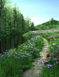 Country road passes  through meadow near a river. Lawn with flowers near the river. Country road passes  through Meadow near a river Stock Photo